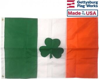 Irish Shamrock Flag- Made in the USA!