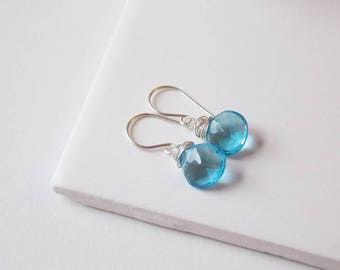Brilliant Blue Quartz Gemstone Earrings with nesting wire wrap in Sterling Silver. Beach, Wedding, Everyday Jewelry