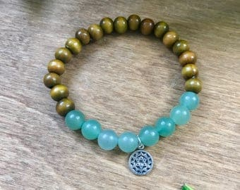 Heart Chakra Mala Bracelet, Green Aventurine, Sandalwood, Intrinsic Journeys Jewelry
