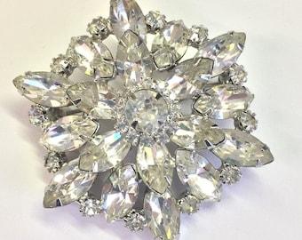 Vintage Sparkling Ice Crystal Clear Rhinestone Brooch Unsigned Weiss? Eisenberg?
