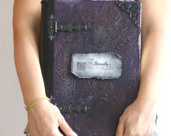 "Personalized large journal large blank book spell book journal magic diary book of shadows sketchbook handmade journal 13.78""  x 10.03"""