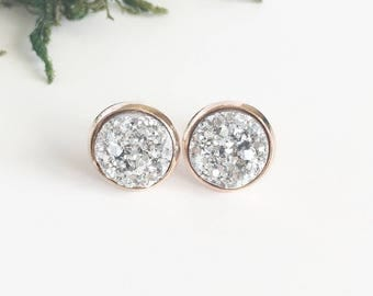 Silver Druzy on Rose Gold Studs