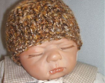 hand knitted baby hat, hand knit baby cap, silky feel hat newborn gold and brown