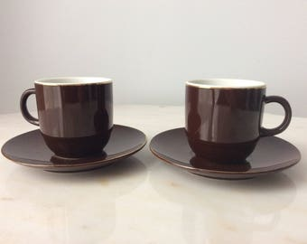 Espresso Coffee Set Classic Minimalist Brown Gold Trim Cup Saucer Set for 2