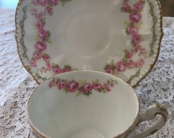 ANTIQUE ELITE WORKS Limoges Tea Cup and Saucer Set (Demitasse)  Cottage Syle