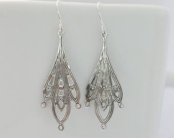 Filigree chandelier earrings, simple and delicate silver earrings, victorian earrings