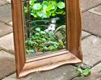 Vintage Countertop Mirror Carved Hardwood, French Country, Paintable