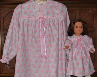 """Matching Nightgowns for your Girl and her American Girl Doll or any 18"""" Doll, size 8"""
