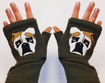 Bulldog Portrait Personalized Fingerless Gloves with Pockets. Gift for Dog Lovers.