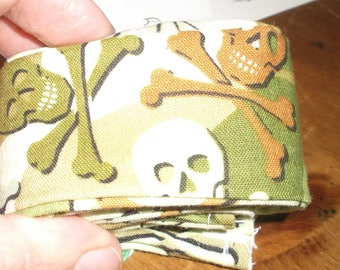 Fabric CANE COVER  Green and Brown SKULLS Cross Bones
