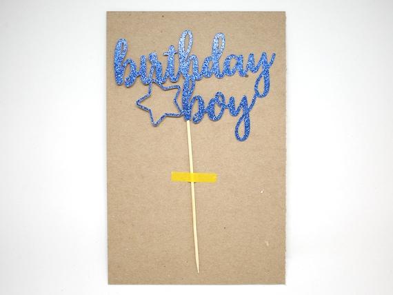 """SALE - Birthday Boy Cake Topper - Dark Blue Glitter - 5.0"""" First Birthday. Smash Cake Topper. Birthday Party. 1st Birthday. Boy Birthday."""