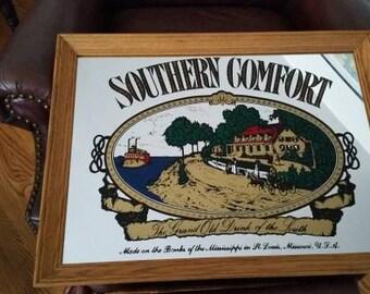 Vintage Southern Comfort bar mirror with wood frame stamped Glassik on the back