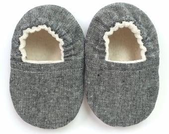 Black Linen Soft Sole Vegan Baby Shoes