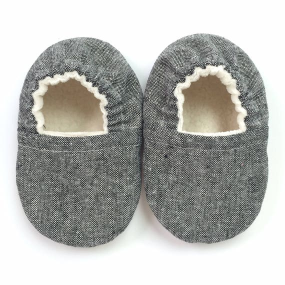Black Linen Soft Sole Vegan Baby Shoes