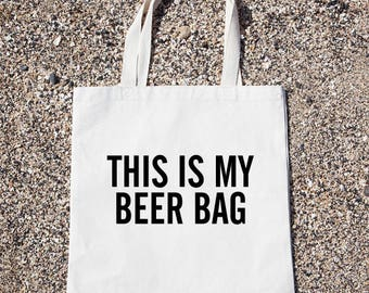 This Is My Beer Bag Tote Bag Gift For Reader Funny Canvas Bag, Canvas Tote Bag, Shopping Bag, Grocery Bag, Funny Reusable Cotton Bag