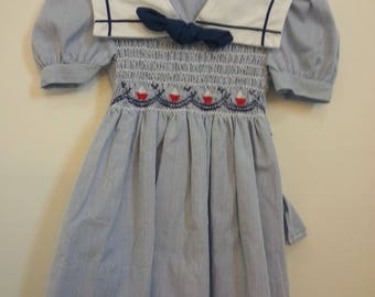 Vintage Polly Flinders blue and white striped dress, embroidered sailboats, sailor collar, sized 2T