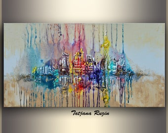 Large Wall Art, Colorful Modern, XL, Acrylic Painting, Abstract Painting,  Cityscape