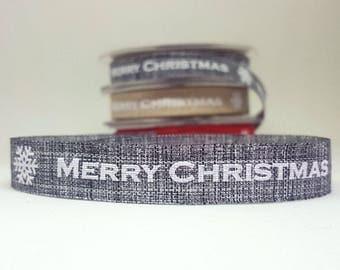 Merry Christmas ribbon. White print on grey colour woven ribbon. 1.5cm wide x 4 metres long