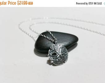 ON-SALE Solid Sterling Silver Sand Dollar Necklace -  Nautical Necklace, Beach Wedding Charm Necklace, Beach Jewelry