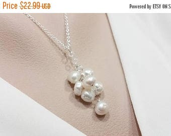 ON-SALE Pearl Cluster Necklace - Bridal Pearl Necklace, Freshwater Pearl, Bridesmaid Gift, Birthday June Gift, Cluster Dangle Pendant