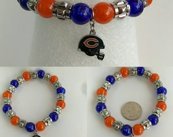 Father's Day Men's Women's Unisex Stainless Steel Chicago Bears Inspired Elastic Stretch Bracelet Jewelry