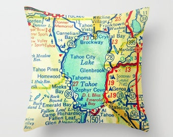 Travel Gift, Lake Tahoe Map Pillow Cover, Travel Gift for Her, Boyfriend Christmas Gift California Gift, Nevada Lake Tahoe Gift, vintage map