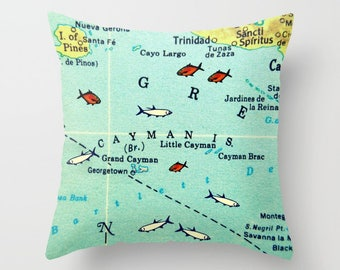 Cayman Pillow Cover 18x18, Cayman Islands Map Pillow, Cayman Islands Gift, Cayman Pillow, Cayman Islands Map Art,  wedding Anniversary Gift
