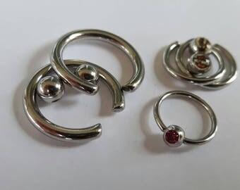 Lot of Body jewellery jewelry rings  surgical stainless steel balls Harley Davidson pink zircona earrings nipple eye brow belly naval lip