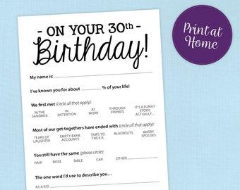 Funny 30th Birthday Party Game Card, Printable PDF, Milestone