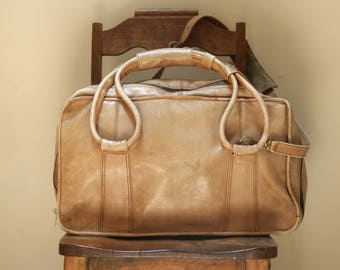 Vintage Light Brown Leather Duffle Travel Bag | Made in Columbia