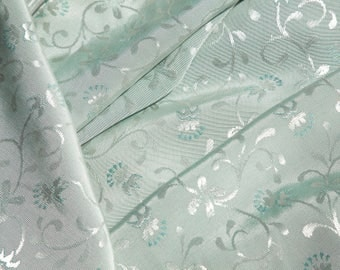 """2 Yards of 60"""" Vintage Damask Jacquard Woven Fabric. Floral. Light Seafoam with Silvery Highlights. High Quality. Sewing, Crafts. Item 4197F"""