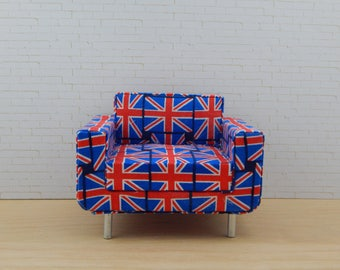 1:12 Scale Miniature Modern Union Jack Chair