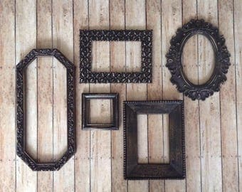 black wall frame gallery distressed open wall frames set of 5 empty frames - Empty Frames On Wall