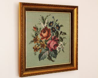 Vintage Floral Embroidery - Framed and Glazed Vintage Floral Needlepoint - Vibrant Colours