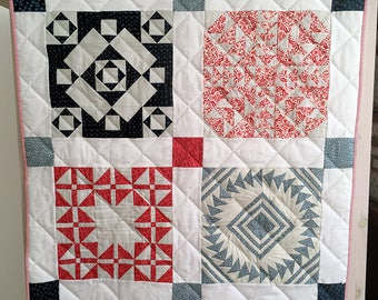 Sampler Quilt – Red, White & Blue