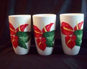 Vintage 1949 Santa Anita Ware Red Anthurium Tumbler Set of 3 California Pottery