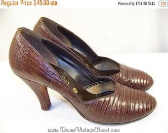 "On Sale 50% OFF Vintage Lizard Skin Shoes 3 1/4"" Heels Pumps  SZ 5 1/2  -  6"