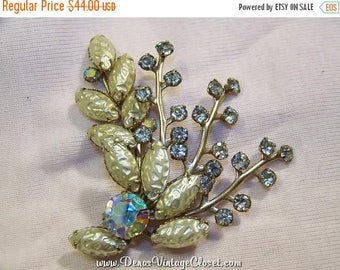 60% OFF Clearance Sale Vintage Rhinestone Aurora Borealis Adjustable Brooch Pin
