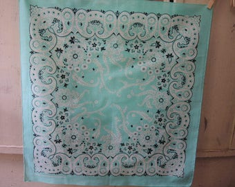 Vintage 1980s cotton poly blend bandana  made in the USA mint green paisley  NOS 21.5 x 22.5 inches