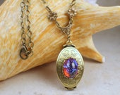 Dragons Breath Fire Opal Bronze Photo Locket, Folding Photo Locket Necklace, Multi Picture Locket, Photo Locket, Multi Frame Locket