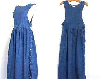 Vintage L L Bean Minimalist Dress 90s Denim 80's 90's Dress Maxi Hippie Dress Oversized Slouchy Dress Grunge Dress Boho Clothing Tank G2