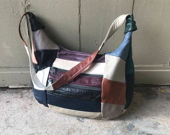Vintage 80's 90's Leather Patchwork Purse K