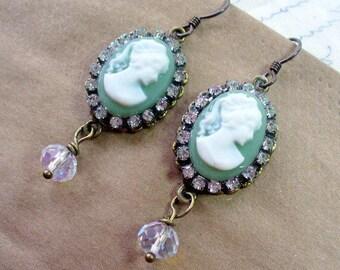 Olive Green,Oval Lady Cameo, Rhinestone Dangle Earrings, Antique Brass Earring, Lady Cameo Earrings, Victorian, Fall Wedding, Green Earring