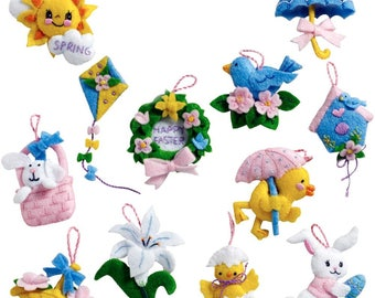 Easter Ornaments Felt Appliqué Kit - Set of 12