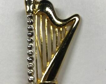 Harp Brooch , Gold tone Harp Brooch , Vintage Brooch , Harp Pin ,