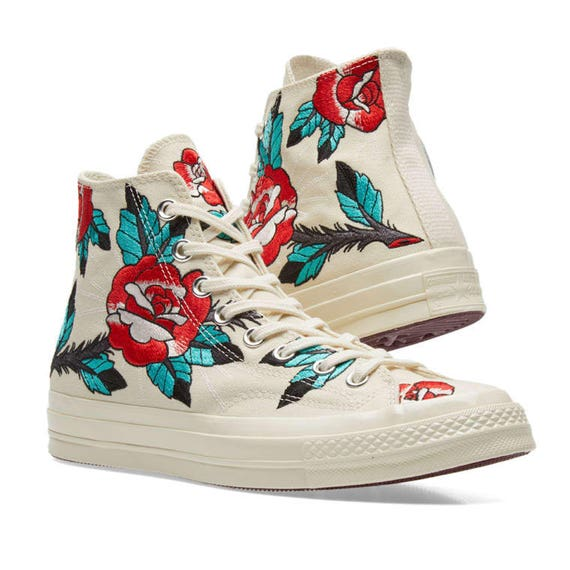 Converse High Top Floral Rose Embroidery Ivory White Bling w/ Swarovski Crystal Rhinestone Jewel Chuck Taylor All Star Texture Sneaker Shoes