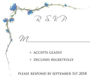 Fall Flowers digital RSVP card, digital blue flowers rsvp, digital rustic blue vine flowers wedding rsvp card, orange and blue flowers rsvp