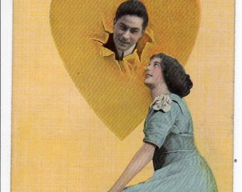 ON SALE Antique Edwardian Romantic Color Postcard Theochrom Greeting Card Early 1900s Woman & Man Valentine Lovers in Love Heart Photo