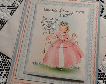 ON SALE Vintage Happy Birthday Greetings Fold-Out Die-Cut Card & Envelope Unused 1940s 1950s Uncertain of Date Southern Belle Cute Colonial
