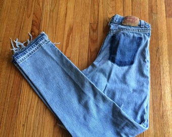 Vintage Levi's High Waist Distressed Cut Out Light Wash Denim Jeans